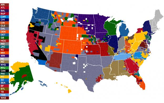 Most Accurate NFL Fandom Map Using Facebook Data - 101qs