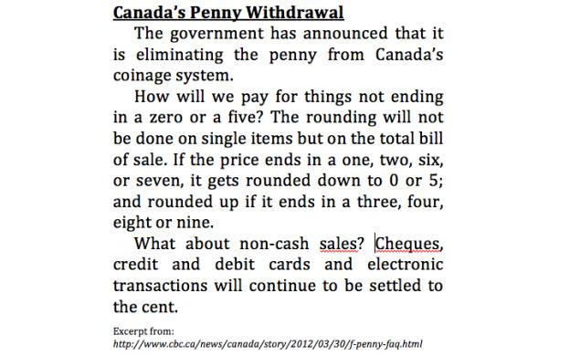 Canada's Penny Withdrawal